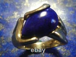 Bague Vintage Or 18k 750 + Lapis Lazuli Art Nouveau / Déco 7,09g T59
