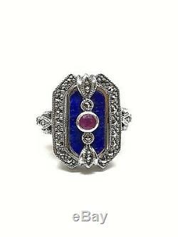 Bague vintage en argent 925/1000 look art déco, lapis lazuli et marcassites