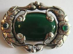 Beau Art Nouveau Jensen Style Vintage Sterling & Chrysoprase Floral Broche