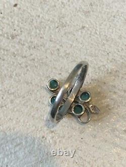 Belle Bague Ancienne Art Nouveau Argent Turquoises Antique Vintage Silver Ring