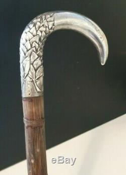 Belle Canne de Marche Argent Art Nouveau. Vintage Sterling Silver Walking Stick