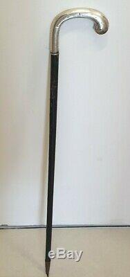Belle Canne de Marche Argent Massif. Vintage Sterling Silver Walking Stick