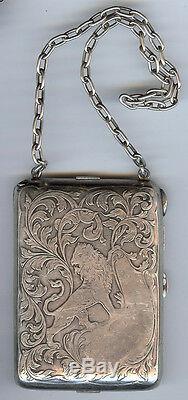 Blackinton Sterling Art Nouveau Vintage Gravé Lion & Tourbillons Compact