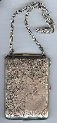Blackinton Sterling Art Nouveau Vintage Gravé Lion & Tourbillons Compact Main