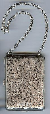 Blackinton Sterling Art Nouveau Vintage Gravé Lion & Tourbillons Compact Sac à