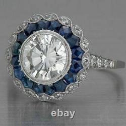 Blanc & Bleu Zircone Vintage Art Déco Fiançailles Bague Argent Sterling S925