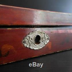 Boite coffret bijou peinture laquée fait main vintage art nouveau Asie N3899