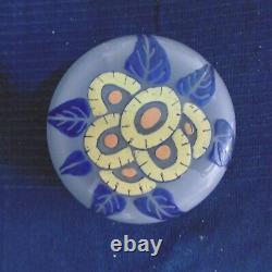 Boite en verre depoli decor emaille main ancien vintage art nouveau art deco