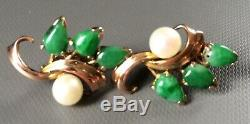 Boucles D'Oreilles en Jade, Perle, Or, Art Nouveau, Vintage, Jade Jadeite