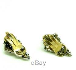Boucles D'Oreilles en Style Art Nouveau Vintage Années'50 or Massif 18 KT avec