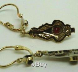 Boucles D'oreilles De Style Art Nouveau Vintage Années'50 Or Massif 18 Kt