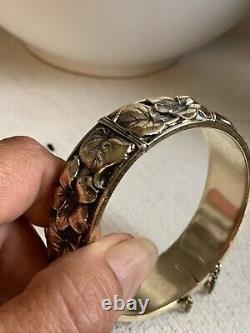 Bracelet Ancien Art Nouveau Plaqué Or Jonc Manchette Vintage Gold Plated Bangle