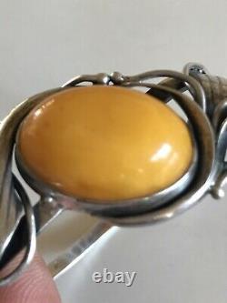 Bracelet Argent Massif & Ambre Décor Art Nouveau Bijoux Vintage Jewelry