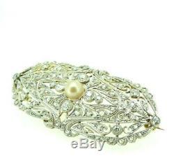 Broche Antique Art Nouveau or 18 KT avec Diamant Naturel 2 CT Environ Vintage
