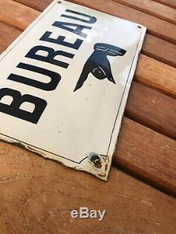 Bureau Ancienne Plaque Emaillee Bombee Loft Usine Vintage Vers 1920