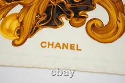CHANEL 98cm Grand Format Écharpe 100% Soie Art Nouveau Motif Crème 5270k