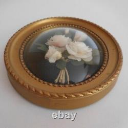 Cadre miniature médaillon roses blanches fait main vintage Belle époque N4382