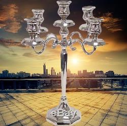 Candélabre Chandelier 5 Bras Art Nouveau Art Déco Vintage Couleurs Argentées