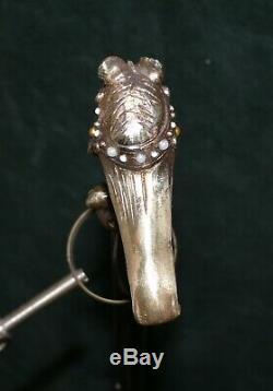 Canne ancienne pommeau femme art nouveau bronze doré vintage cane old stick