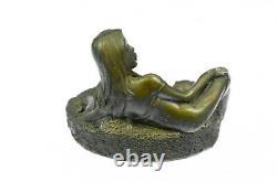 Chair Vintage Bronze Femme Sirène Broche Plat Cendrier Laiton Art Déco Nouveau
