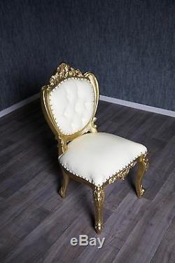 Chaise Baroque Antique or Massif Coussin Blanc Style Chippendale Art Vintage