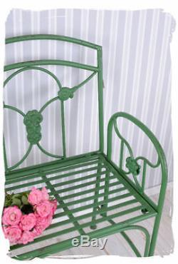 Chaise De Jardin Shabby Chic Fer Vintage Art Nouveau Chaise Vert
