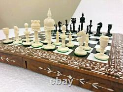 Chameau OS Collecteur Vintage Échecs Set Main Sculpté Incrustation Art Work Taj
