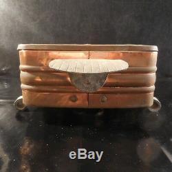 Chauffe-plat cuivre bronze vintage art nouveau déco design XXe PN France N3075