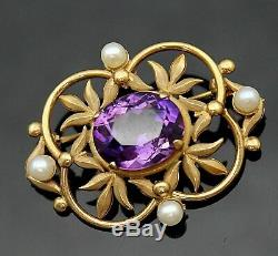 Classeur Bros Vintage Authentique Améthyste Perle Style Art Nouveau 14ct or