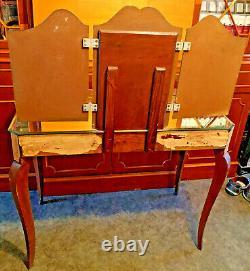 Coiffeuse Vénitienne -triptyque & dessus miroir vintage Meuble style Art Nouveau