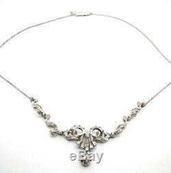 Collier Antique Or Blanc Massif 18k Art Nouveau Vintage Ans 20 Diamants