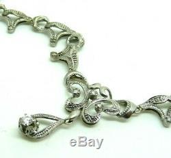 Collier Antique or Blanc Massif 18k Art Nouveau Vintage Ans'10 Diamants