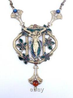 Collier plastron ancien vintage metal doré émaillé style Art Nouveau Mucha