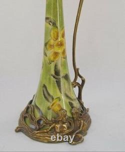 Cruche Vase Carafe Dans Maritime Art Nouveau Porcelaine Bronze Vintage