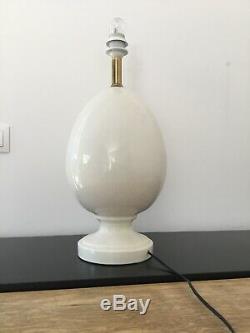 DESIGN VINTAGE Ancienne LAMPE OEUF Céramique Craquelé Art Deco Nouveau