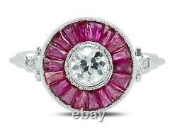 Diamant Rubis Platine Bague Art Déco Main Vintage Finition Antique Naturel