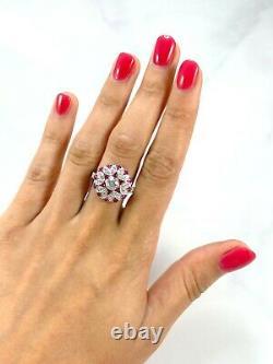 Diamant Rubis Platine Bague Coupe Ronde Art Déco Vintage Ancien Inspiré Naturel
