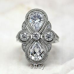 Edouardien Motif Vintage Art Déco Diamant Mariage Bague 9kt or Blanc