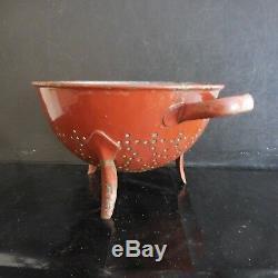 Égouttoir métal émaillé vintage Art nouveau déco design XXe PN France N2845