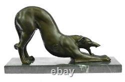 Élégant Art Déco Vintage Bronze Chien Lévrier Course Cheval Sculpture Statue