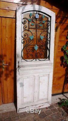 Élément Architecture Maison Villa Porte entrée Vintage Chêne Grille Fonte 1900