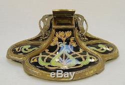 Encrier Oeuvre Style Art Nouveau Bronze Monté Porcelaine Vintage Ästhetikdeko