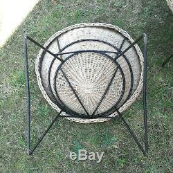 Ensemble en rotin 4 fauteuils et une table vintage design 1970