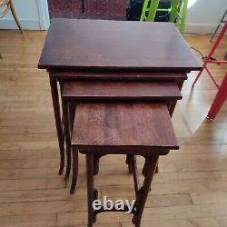 Ensembles de 4 tables gigognes vintage modèle 10 THONET, Art Nouveau 1900