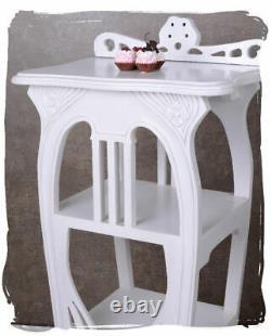 Étagère Blanc Art Nouveau Acajou Notenschrank Shabby Table Colonne de Fleurs