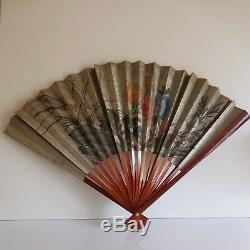 Eventail bois papier décor fleuri vintage art nouveau déco PN France N2290