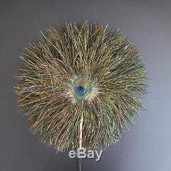 Eventail plume oiseau paon fait main vintage animalier art nouveau déco N4159