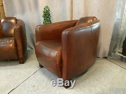 Fauteuils barquette (la paire) en cuir vintage