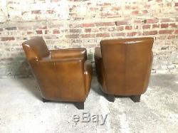 Fauteuils club Havane (la paire) en cuir vintage