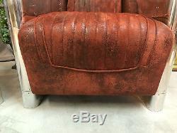 Fauteuils (la paire) Aviator vintage en alu riveté tissu façon cuir